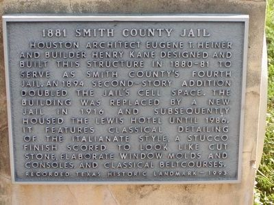 1881 Smith County Jail Marker image. Click for full size.