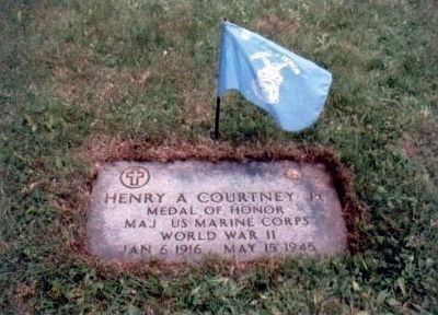 Henry A. Courtney Jr., Medal of Honor grave marker image. Click for full size.
