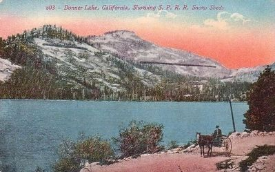 <i>Donner Lake, California, Showing S.P.R.R. Snow Sheds.</i> image. Click for full size.