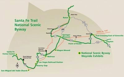 Santa-Fe Trail Map in New Mexico image. Click for full size.