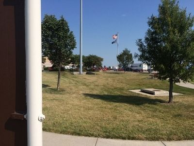 View from marker towards rest area building. image. Click for full size.
