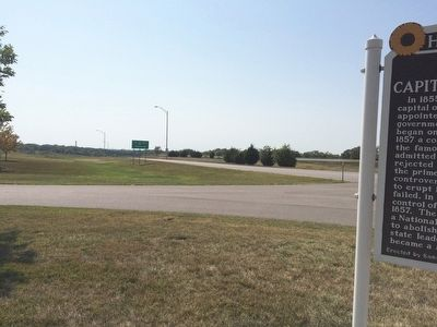 View from marker towards rest area exit westbound. image. Click for full size.