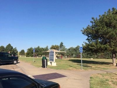 View of marker looking towards rest stop picnic area. image. Click for full size.