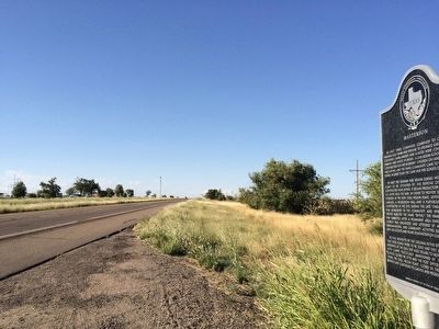 View of marker looking north towards Masterson community. image. Click for full size.