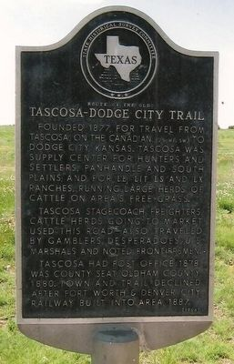 Route of the Old Tascosa-Dodge City Trail Marker image. Click for full size.
