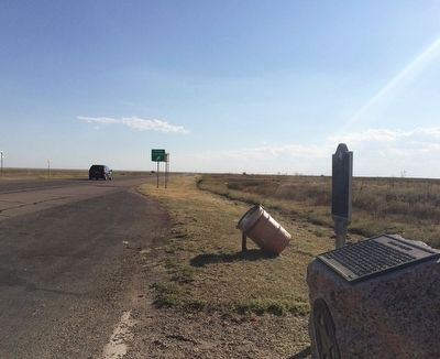 View of marker looking south on U.S. Highway 87/287. image. Click for full size.