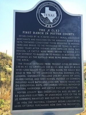 The _X (LX) First Ranch in Potter County Marker image. Click for full size.