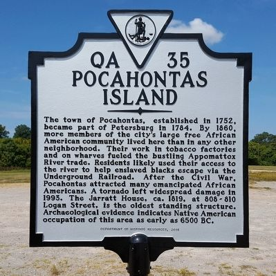 Pocahontas Island Marker image. Click for full size.