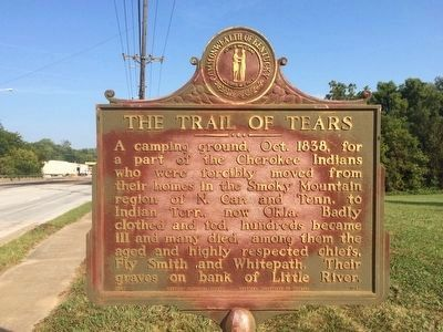 Trail of Tears plaque next to this marker. image. Click for full size.