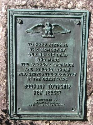 Boonton Township Veterans Memorial image. Click for full size.