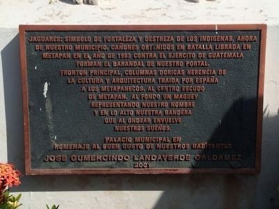 Municipality of Metapán Marker image. Click for full size.