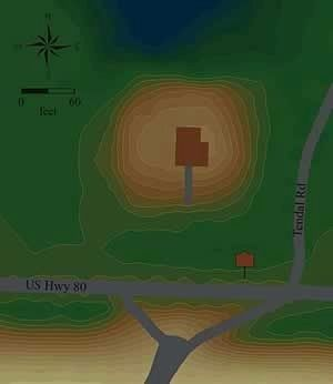 Map of Tendal Mound in relation to home above. image. Click for full size.
