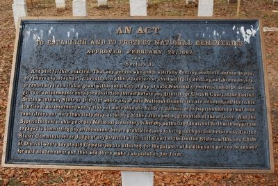 An Act to Establish and to Protect National Cemeteries Marker image. Click for full size.