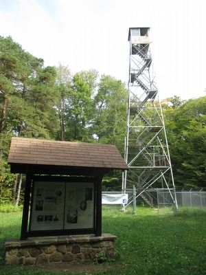 Marker & Summit Fire Tower image. Click for full size.