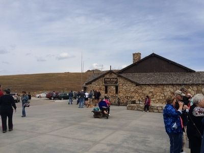 Trail Ridge Store & Cafe to the left of markers. image. Click for full size.