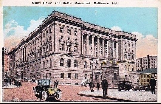 <i>Court House and Battle Monument, Baltimore, Md.</i> Photo, Click for full size