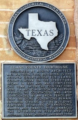 Llano County Courthouse Texas Historical Marker image. Click for full size.
