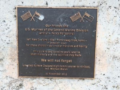 New Zealand Memorial to U.S. Marines and Navy Marker image. Click for full size.