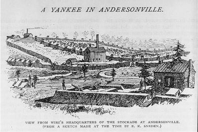 View from Wirz's headquarters of the stockade at Andersonville image. Click for full size.