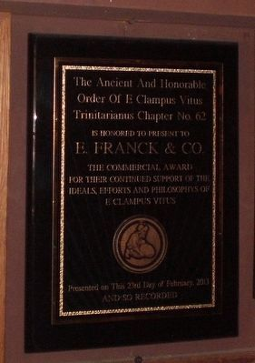 E. Franck & Co. Commercial Award image. Click for full size.