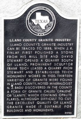 Llano County Granite Industry Texas Historical Marker image. Click for full size.