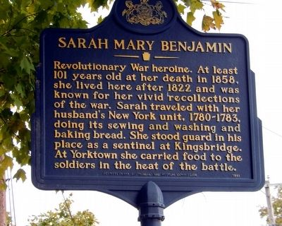 Sarah Mary Benjamin Marker image. Click for full size.