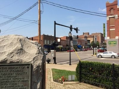 View of memorial at intersection of Main & 1st Streets. image. Click for full size.