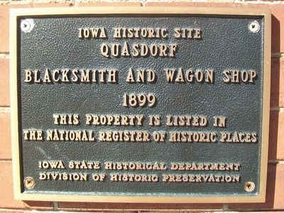 Quasdorf Blacksmith and Wagon Shop NRHP Marker image. Click for full size.