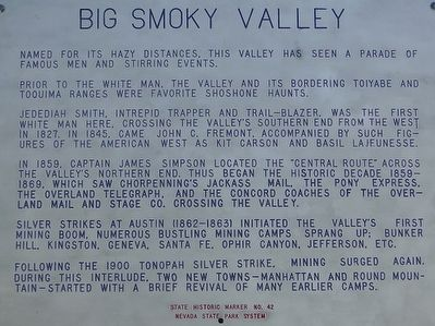 Big Smoky Valley Marker image. Click for full size.