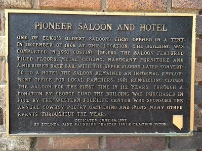 Pioneer Saloon and Hotel Marker image. Click for full size.