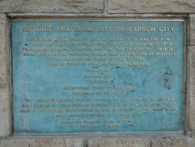 Historic Fraternal Site of Carson City Marker image. Click for full size.