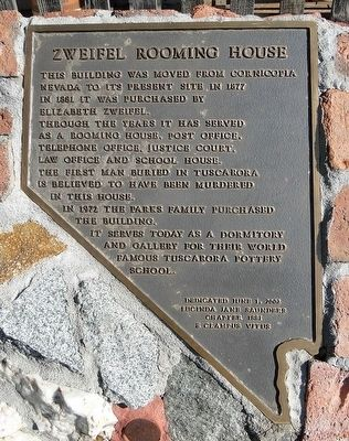 Zweifel Rooming House Marker image. Click for full size.