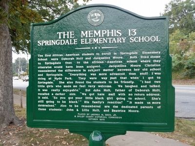 The Memphis 13 Springdale Elementary School Marker image. Click for full size.