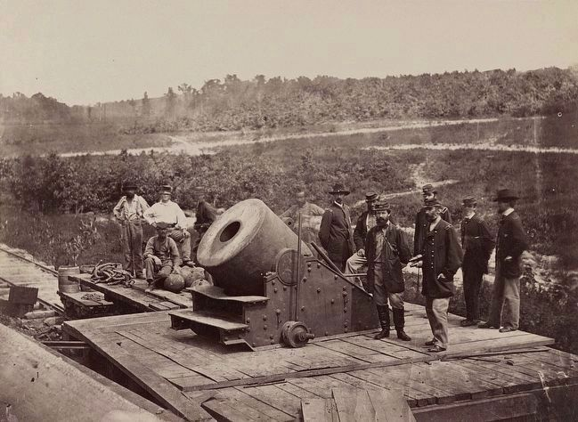 "<i>13 inch mortar ""Dictator"" in front of Petersburg, Va.</i> image. Click for full size."