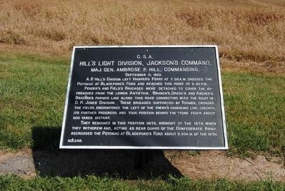 Hill's Light Division, Jackson's Command Marker image. Click for full size.