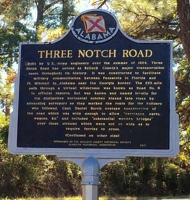Three Notch Road Marker (Side 1) image. Click for full size.