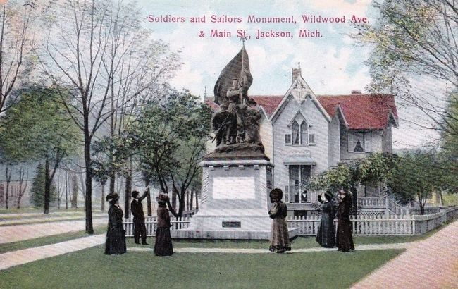<i>Soldiers and Sailors Monument, Wildwood Ave. and Main St., Jackson, Mich.</i> image. Click for full size.