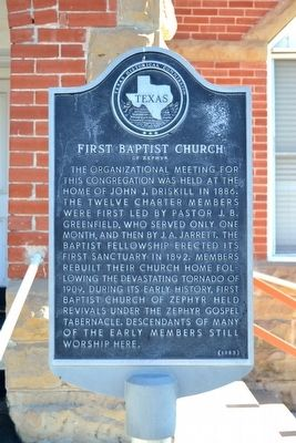 First Baptist Church of Zephyr Marker image. Click for full size.