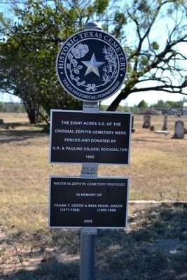 Zephyr Cemetery<br>Historic Texas Cemetery Medallion image. Click for full size.