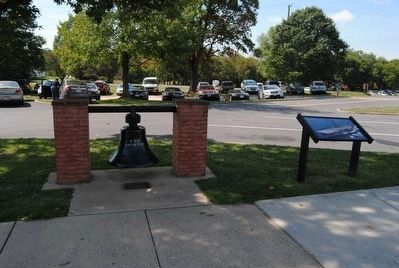 Battlefield Namesake Marker and USS Antietam Bell image. Click for full size.