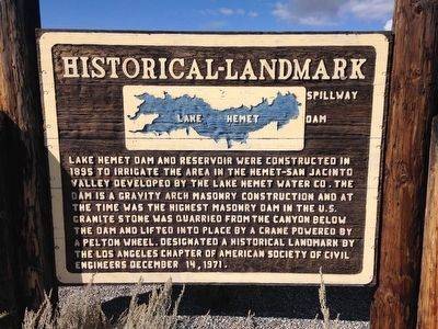 Historic Lake Hemet Dam Marker image. Click for full size.