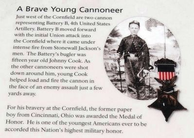 A Cornfield Unlike Any Other Marker<br>A Brave Young Cannoneer image. Click for full size.