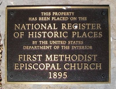 First Methodist Episcopal Church NRHP Marker image. Click for full size.