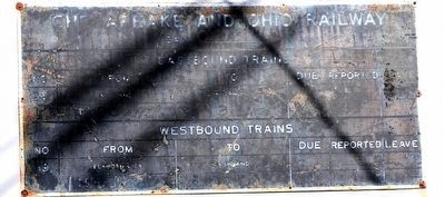 Worn C&O Trainboard Mounted on Museum Wall image. Click for full size.