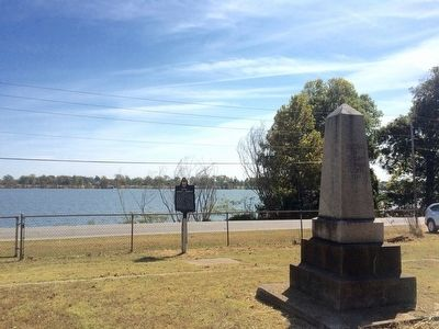 View of marker and Delphian Society monument near Lake Chicot. image. Click for full size.