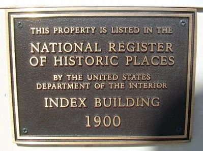 Index Building NRHP Marker image. Click for full size.