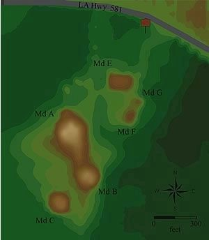 Map showing Transylvania Mounds image. Click for full size.