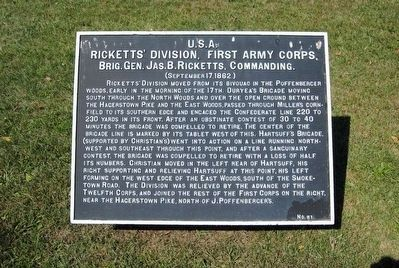 Ricketts' Division, First Army Corps Marker image. Click for full size.