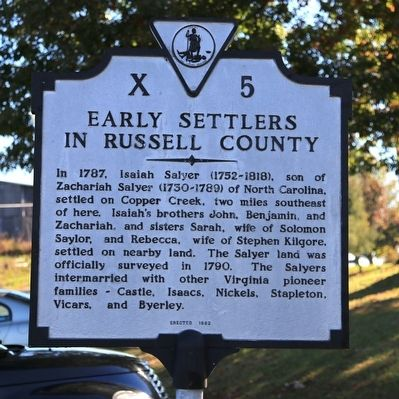 Early Settlers in Russell County Marker image. Click for full size.