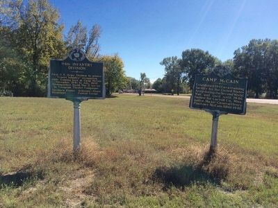 View of two markers looking south on U.S. 51. image. Click for full size.